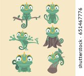 cartoon chameleon cute... | Shutterstock .eps vector #651467776