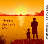 silhouettes of dad and son... | Shutterstock .eps vector #651471322