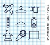 set of 9 hang outline icons... | Shutterstock .eps vector #651471418