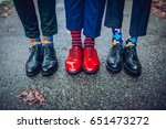 Men's Feet In Stylish Shoes An...
