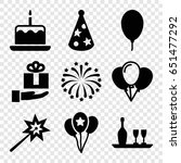 anniversary icons set. set of 9 ... | Shutterstock .eps vector #651477292