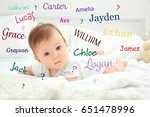 Small photo of Baby names concept. Cute little child lying on bed at home