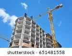 crane and building under... | Shutterstock . vector #651481558