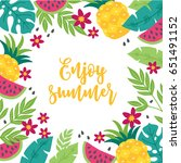 summer greeting card with... | Shutterstock .eps vector #651491152