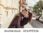 young stylish couple hugging... | Shutterstock . vector #651495526