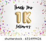 1k or 1000 thank you gold... | Shutterstock . vector #651499426