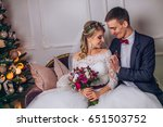 bride in beautiful dress and... | Shutterstock . vector #651503752