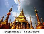 golden pagoda in thailand | Shutterstock . vector #651505096