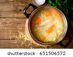 homemade chicken soup with... | Shutterstock . vector #651506572
