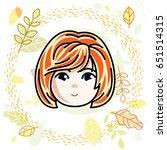 girls face  human head. vector... | Shutterstock .eps vector #651514315