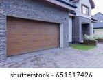 view of wooden garage door and... | Shutterstock . vector #651517426