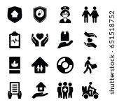 insurance icons set. set of 16... | Shutterstock .eps vector #651518752