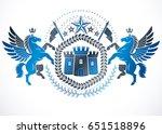 classy emblem  vector heraldic... | Shutterstock .eps vector #651518896