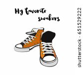 sneakers shoes. hand drawn... | Shutterstock .eps vector #651529222