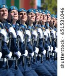 Small photo of MOSCOW, RUSSIA - MAY 07, 2017:Cadets at the air force Academy named after Professor N. E. Zhukovsky and Y. A. Gagarin at the dress rehearsal of parade on red square in honor of Victory Day.