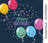 happy birthday kawaii ballons   Shutterstock .eps vector #651550462