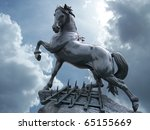 Horse statue on the sky with...