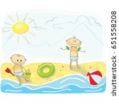little kids playing on the beach | Shutterstock .eps vector #651558208
