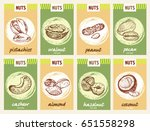 nuts card set. flyers with nuts....   Shutterstock .eps vector #651558298