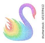 stylized rainbow swan on a... | Shutterstock .eps vector #651559612