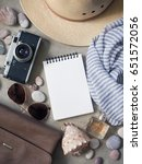flat lay  top view traveler's... | Shutterstock . vector #651572056