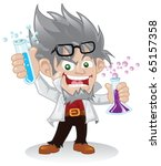 mad scientist cartoon character ... | Shutterstock .eps vector #65157358