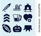 set of 9 linear filled icons... | Shutterstock .eps vector #651616996