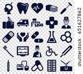 medicine icons set. set of 25... | Shutterstock .eps vector #651627862