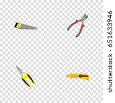 realistic stationery knife ... | Shutterstock .eps vector #651633946
