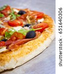 pizza with dry cured ham and...   Shutterstock . vector #651640306
