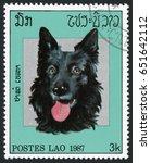 laos   circa 1987  post stamp... | Shutterstock . vector #651642112