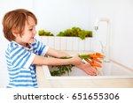 cute young boy washing the... | Shutterstock . vector #651655306