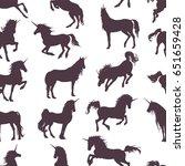 magic cute unicorns silhouettes ... | Shutterstock .eps vector #651659428