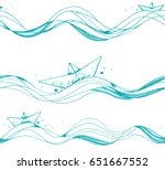 seamless pattern with origami... | Shutterstock .eps vector #651667552