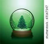 realistic christmas snow globe... | Shutterstock .eps vector #65167147