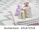 three lavender scent pouches on ... | Shutterstock . vector #651671518