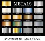 set of realistic metallic... | Shutterstock .eps vector #651674728