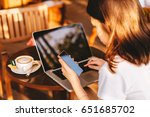 young business woman working on ... | Shutterstock . vector #651685702