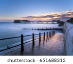 cromer pier at high tide seen...