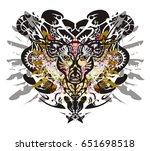 grunge deer head against eagle... | Shutterstock .eps vector #651698518