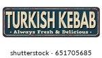 turkish kebab vintage rusty... | Shutterstock .eps vector #651705685