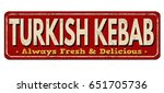 turkish kebab vintage rusty... | Shutterstock .eps vector #651705736