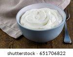 natural yoghurt in bowl on...   Shutterstock . vector #651706822