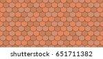 orange roof tiles seamless... | Shutterstock .eps vector #651711382