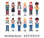 diverse set of children with... | Shutterstock .eps vector #651723115
