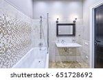 modern interior of the bathroom ... | Shutterstock . vector #651728692