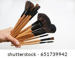 makeup brushes set in hand on... | Shutterstock . vector #651739942