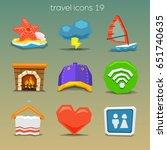 funny travel icons set 19 | Shutterstock .eps vector #651740635