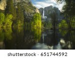 Yosemite Falls Flow Into The...
