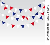 garlands of red white blue... | Shutterstock . vector #651754348